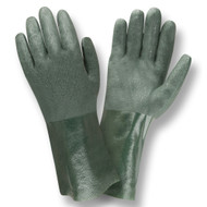 Green PVC Coated Gloves, Etched Finish, Jersey Lined, 12-INCH (Dozen)