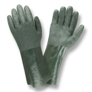 Green PVC Coated Gloves, Etched Finish, Jersey Lined, 14-INCH (Dozen)