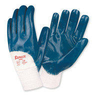 BRAWLER™ Supported Nitrile Gloves, Palm Coated, Jersey Lined, Knit Wrist, Sanitized®