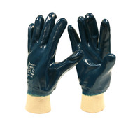 BRAWLER Supported Nitrile Gloves, Fully Coated, Jersey Lined, Knit Wrist, Sanitized®