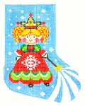 BX37SKU Lee's Needle Arts Snow Fairy Princess Hand-painted canvas - 18 Mesh 4in. X 5in.