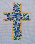 "Ann Wheat Pace 101l Large Cross 18 Mesh 6.75""x 9"" Blue Floral With Beige"