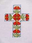 Ann Wheat Pace 101AU Red Heart Flowers Cross