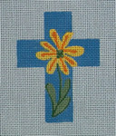 "Ann Wheat Pace 102C Small Cross 18 Mesh 2.5"" x 3.5"" Yellow Daisy On Blue"