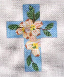 "Ann Wheat Pace 102Q Small Cross 18 Mesh 2.5"" x 3.5"" Dogwood On Blue"