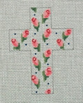 "Ann Wheat Pace 102O Small Cross 18 Mesh 2.5"" x 3.5"" Rosebuds"