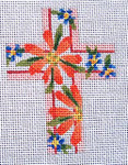 "Ann Wheat Pace 102H Small Cross 18 Mesh 2.5"" x 3.5""Coral Daisies And Forget Me Nots"