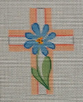 "Ann Wheat Pace 102L Small Cross 18 Mesh 2.5"" x 3.5"" Blue Floral With Beige"