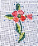 "Ann Wheat Pace 102U Small Cross 18 Mesh 2.5"" x 3.5"" Pink Flowers With Blue Dots"