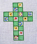 "Ann Wheat Pace 102X Small Cross 18 Mesh 2.5"" x 3.5"" Flowers On Green Squares"