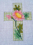 "Ann Wheat Pace 102ABSmall Cross 18 Mesh 2.5"" x 3.5"" Pink/Purple Floral on Green Tattersall"