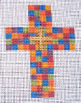 "Ann Wheat Pace 102AD Small Cross 18 Mesh 2.5"" x 3.5""  Multi Squares on Gold"