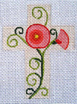 "Ann Wheat Pace 102AE Small Cross 18 Mesh 2.5"" x 3.5"" Poppies"
