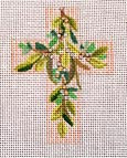 "Ann Wheat Pace 102AG Small Cross 18 Mesh 2.5"" x 3.5"" Leaves On Pink Stripes"