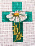"Ann Wheat Pace 102AJ Small Cross 18 Mesh 2.5"" x 3.5"" White Daisies"