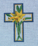 "Ann Wheat Pace 102AM Small Cross 18 Mesh 2.5"" x 3.5"" Daffodils"