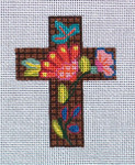 "Ann Wheat Pace 102AN Small Cross 18 Mesh 2.5"" x 3.5"" antasy Flowers"