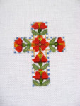 "Ann Wheat Pace 102AU Small Cross 18 Mesh 2.5"" x 3.5"" Red Heart Flower"