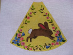 "Ann Wheat Pace 210C 13 Mesh Tree Skirt Section 9.75"" x 11.25"" Brown Bunny on Yellow"