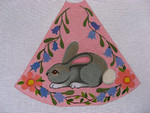 "Ann Wheat Pace 210B 13 Mesh Tree Skirt Section 9.75"" x 11.25"" Gray Bunny on Pink"