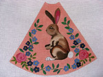 "Ann Wheat Pace 210A 13 Mesh Tree Skirt Section 9.75"" x 11.25"" Brown Bunny on Peach"