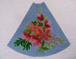 "Ann Wheat Pace 210D 13 Mesh Tree Skirt Section 9.75"" x 11.25"" Coral Floral on Blue"