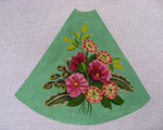 "Ann Wheat Pace 210E 13 Mesh Tree Skirt Section 9.75"" x 11.25"" Pink Floral On Green"