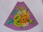 "Ann Wheat Pace 210F 13 Mesh Tree Skirt Section 9.75"" x 11.25"" Yellow Floral On Lavender"