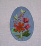 """Ann Wheat Pace 212D 18 Mesh EGG 2.5"""" x 3.75"""" Blue Floral"""