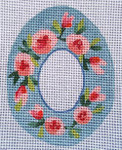 "Ann Wheat Pace 270E SUGAR EGG 18 Meh 4"" x 5"" Pink Roses on Blue"