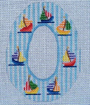 "Ann Wheat Pace 270G SUGAR EGG 18 Mesh 4"" x 5"" Sailboats on Blue Stripes"