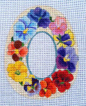 "Ann Wheat Pace 270H SUGAR EGG 18 Mesh 4"" x 5"" Pansies"