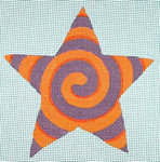 "Ann Wheat Pace 301G Spiral Star 18 Mesh 4.5"" x 4.5"" Purple Orange"