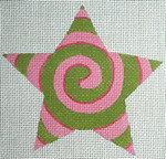 "Ann Wheat Pace 301C Spiral Star 18 Mesh  4.5"" x 4.5""  Pink/Green"