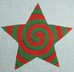 "Ann Wheat Pace 301D Spiral Star 18 Mesh 4.5"" x 4.5"" Red Green"
