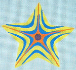 "Ann Wheat Pace 303A Striped Star18 Mesh 4.5"" x 4.5"" Yellow Blue"