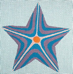 "Ann Wheat Pace 303C Striped Star18 Mesh 4.5"" x 4.5""  Purple Turquoise"