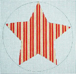"Ann Wheat Pace 303D Striped Star18 Mesh 4.5"" x 4.5""  Red/Gold/White"