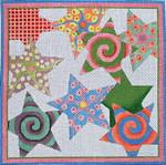 "Ann Wheat Pace 316B Pastel Multi Stars 18 Mesh 7"" x7""Gold/Multi"
