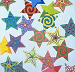 "Ann Wheat Pace 315 Multi Stars 13 Mesh 16"" x 16""  Gold/Multi"