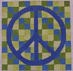 """Ann Wheat Pace 322A MEDIUM BLOCK 18 Mesh 4"""" x 4"""" Blue Peace"""