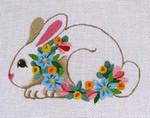 "Ann Wheat Pace 410B Floral Bunny 18 Mesh 3.75"" x 5.5"""