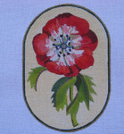 """Ann Wheat Pace 718A 18 Mesh Red Flowers 4.25"""" x 6.25"""" Anemone"""