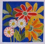 "Ann Wheat Pace 750A Flora on Deep Blue 18 Mesh 6.25"" x 6.25"""