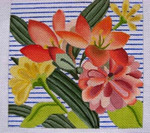 "Ann Wheat Pace 750B Flora on Blue Stripe 18 Mesh 6.25"" x 6.25"""