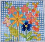 "Ann Wheat Pace 760A 13 Mesh Primitive Floral 6.25"" x6.25"