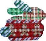 BR-101 Associated Talents Tattersall/Gingerbread Christmas Bunny  3.25 x 2.75 18 Mesh