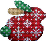BR-105 Associated Talents Snowflakes on Red Christmas  Bunny  3.25 x 2.75 18 Mesh