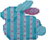 BR-308 Associated Talents Aqua Stripe/Dots Baby Bunny  3.25 x 2.75 18 Mesh