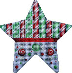 CT-1716R Canes/Peppermint Star Red/Green Associated Talents